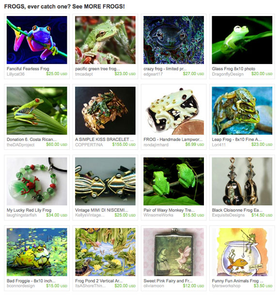 Frogs, ever catch one? Etsy Treasury