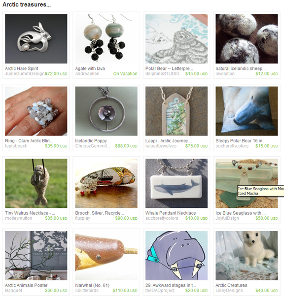 Arctic treasures Treasury on Etsy website