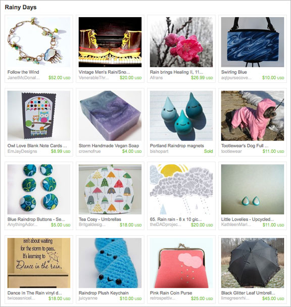 Rainy Days Etsy Treasury by Lizabeth Dezigns