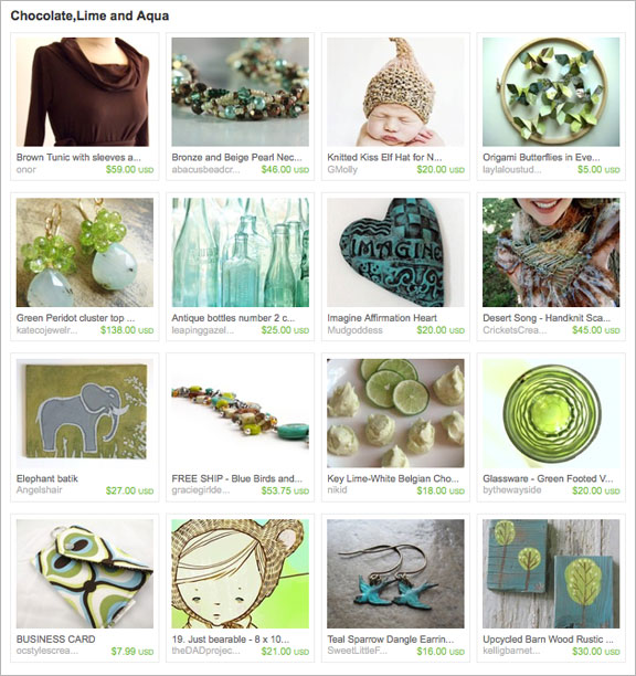 Chocolate, Lime and Aqua etsy Treasury by fuchsiabloomstudio