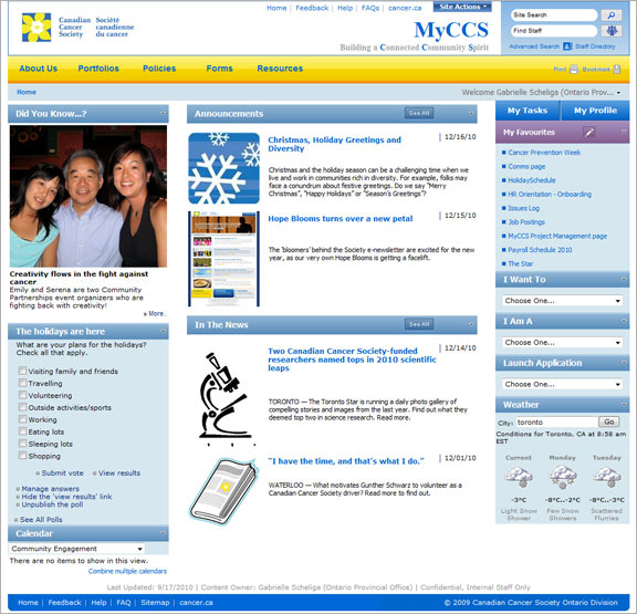 The D.A.D. Project on the Canadian Cancer Society's Intranet