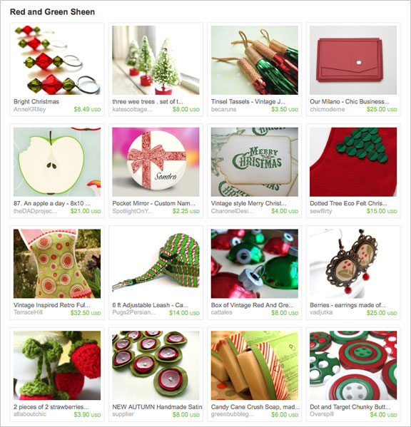 Red and Green Sheen Etsy Treasury by RaeoLight