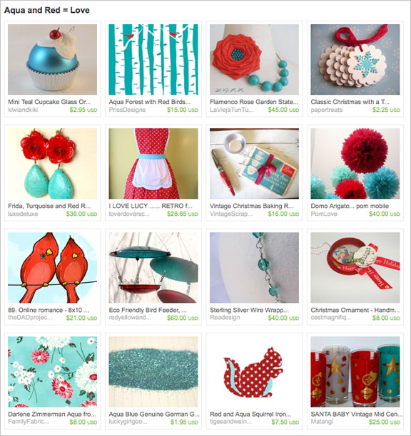 Aqua and Red Love etsy treasury by LittleVintageCottage
