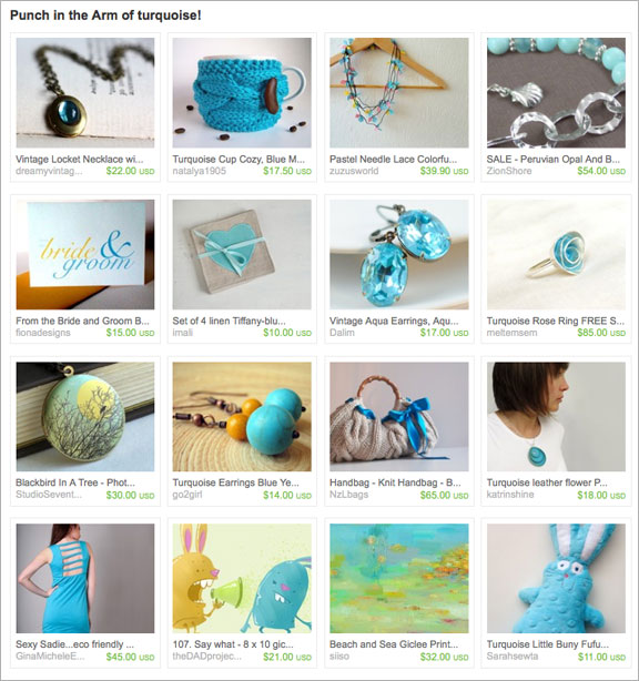 A Punch in the Arm of turquoise etsy treasury by lapisbeach
