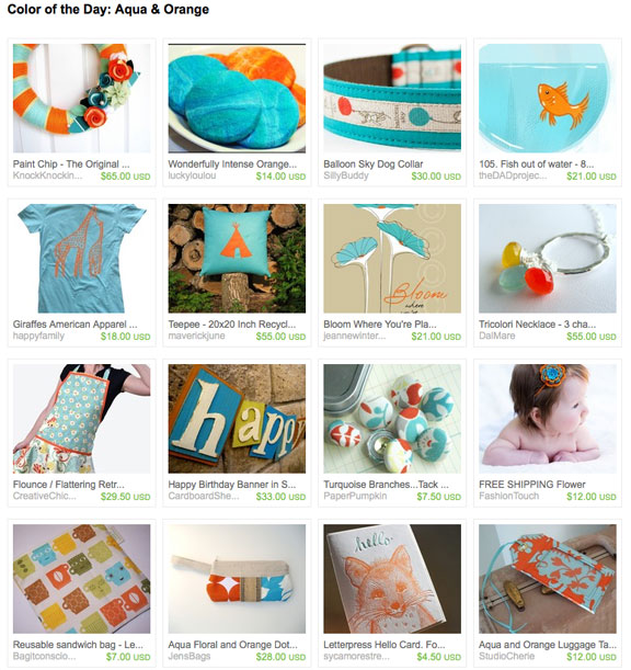 Aqua and Orange etsy treasury by savethedate