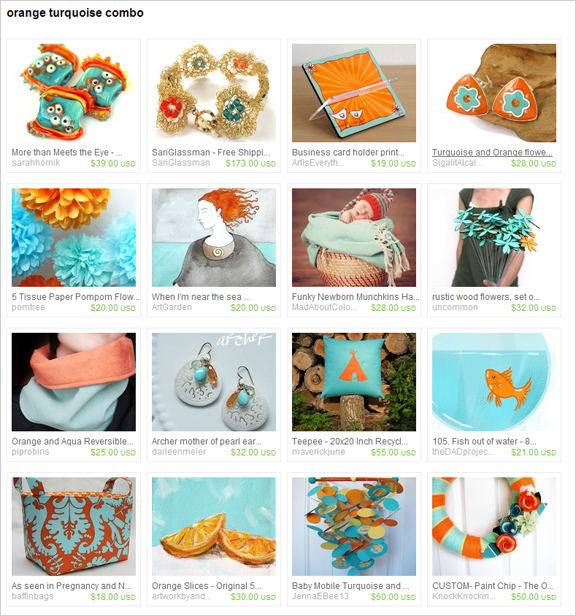 Orange Turquoise Combo etsy treasury by buligaia