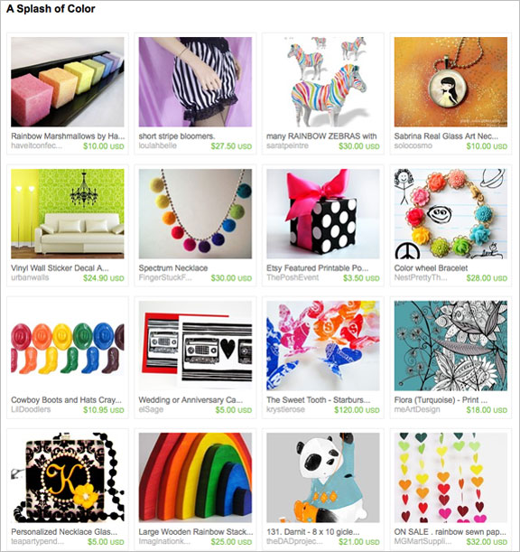 A Splash of Color etsy treasury by DissonanceD
