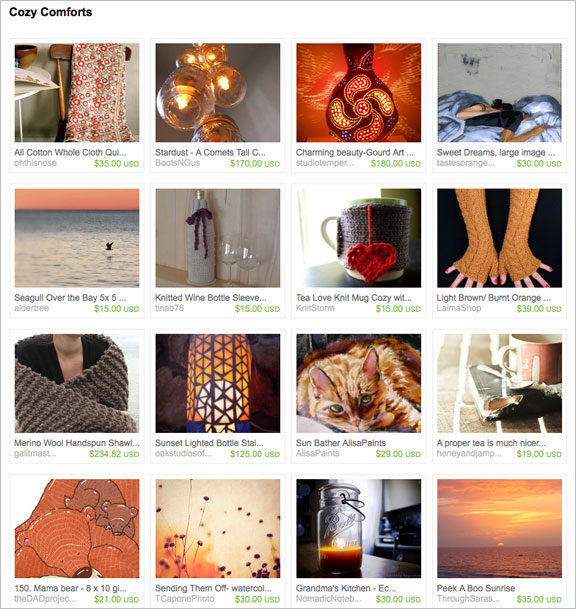Cozy Comforts etsy treasury by Outdoorzy90