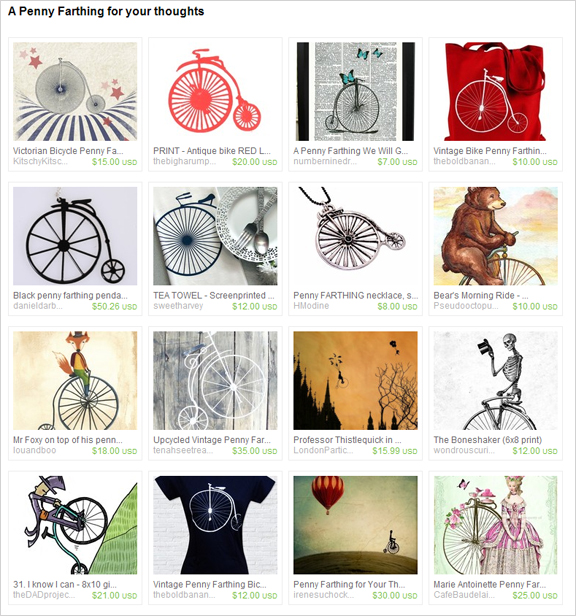 A Penny Farthing for Your Thoughts etsy treasury by rbrosseau