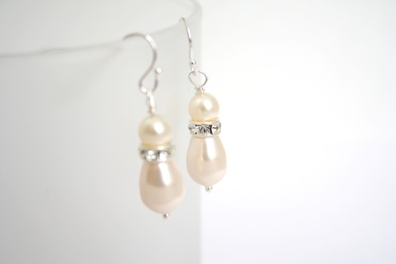 Creamrose Swarovski Pearl Drop Earrings by bumblebeadsdesigns