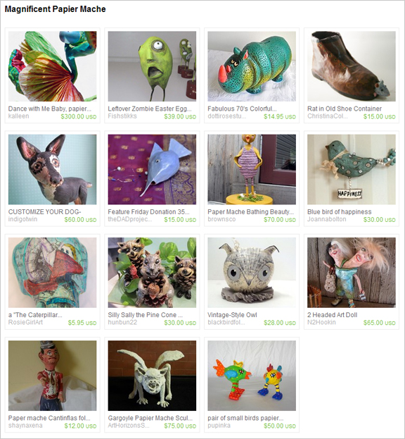 Magnificent Papier Mache etsy treasury by TheAmbiguousButton