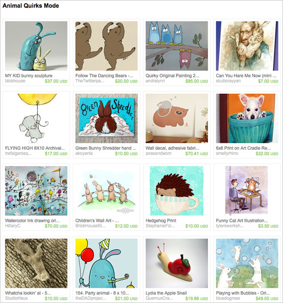 Animal Quirks Mode etsy treasury by rabbittude