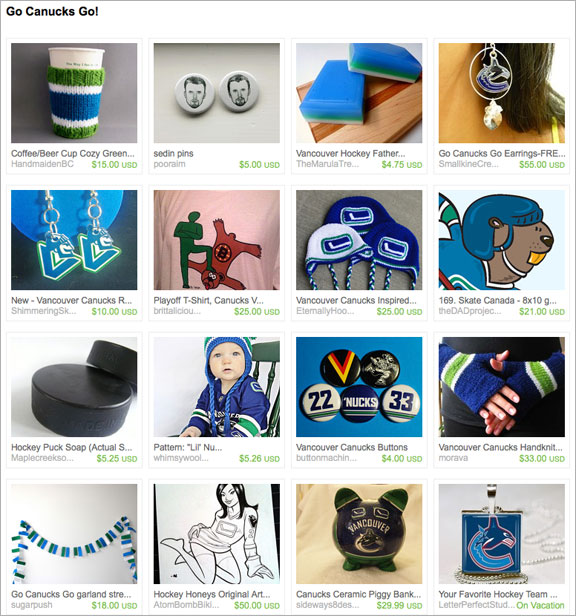 Go Canucks Go! etsy treasury by lisalujewels