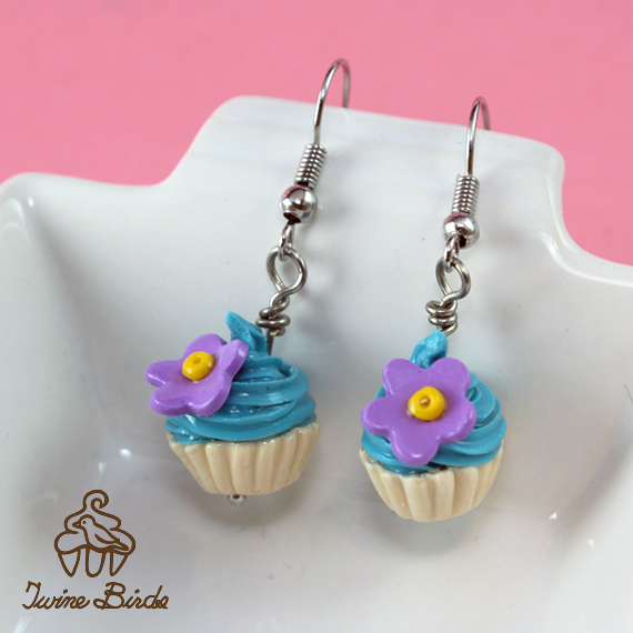Blue cupcake earrings by Twine Birds